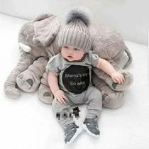 Almofada Elefante Pelúcia Travesseiro Para Bebê Dormir Cinza - Babys fraldas