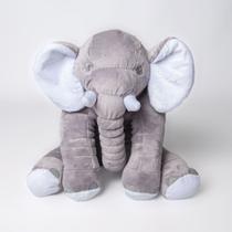 Almofada Elefante Travesseiro Pelúcia 60 cm Cinza com Branco - Magnababy