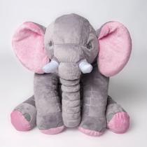 Almofada Elefante Travesseiro Pelúcia 60 cm Cinza com Rosa - Magnababy
