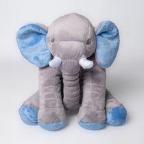 Almofada Elefante Travesseiro Pelúcia 62 cm Cinza com Azul - Magnababy
