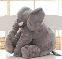 Almofada Elefante Travesseiro Pelúcia Bebê Dormir Cinza 60 cm - Luck Baby