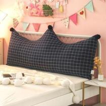 Almofada Grande Para Cabeceira Cama Box Solteiro Travesseiro com Capa de Zíper Quadriculado Preto Xadrez Slim - Melvinn Home Store