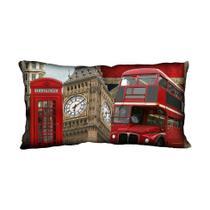 Almofada Impressão Digital Vermelho Onibus Londres 20x40cm - Uniart