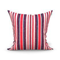 Almofada Listrada Vermelha e Azul Marinho Jacquard 60cm x 60cm Estampada com Refil de Silicone - Moda Casa Enxovais