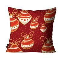Almofada Mdecore Natal Bolas de Natal Vermelha -