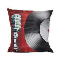 Almofada Microfone Vermelho 42x42cm Uniart -