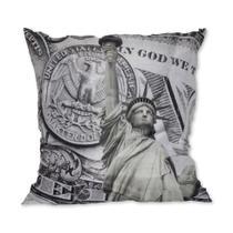 Almofada Nova York Dólar Cinza 42x42cm Uniart -