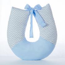 Almofada Para Amamentação Bebe Apoio Amamentar lavável 100% Algodão Chevron Azul Claro - Anjo Ninho
