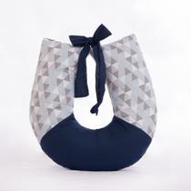 Almofada Para Amamentação Bebe Apoio Amamentar lavável 100% Algodão Triangulo Azul Marinho - Anjo Ninho