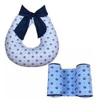 Almofada Para Amamentação Laço + Rolinho Segura Bebê - Coroa Azul - Lika Baby