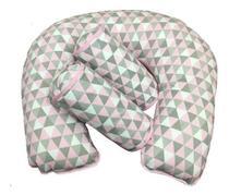 Almofada Para Amamentação + Rolinho Segura Bebê - Bandeirola Rosa - Lika Baby