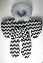 Almofada Para Bebe Conforto Carrinho Redutor Encosto Chevron Cinza - Império Do Bebê