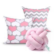 Almofada para Quarto Menina Rosa Estampada 2 Unidades 45cm x 45cm com Refil de Silicone + Almofada Nó Escandinavo - Moda Casa Enxovais