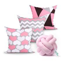 Almofada para Quarto Rosa Estampada 3 Unidades 45cm x 45cm com Refil de Silicone + Almofada Nó Escandinavo - Moda Casa Enxovais