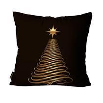 Almofada Premium Cetim Mdecore Natal Arvore de Natal Preta -