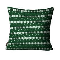 Almofada Premium Cetim Mdecore Natal Flocos de Neve Verde