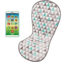 Almofada Protetora Carrinho Triângulos e Celular Infantil Phone Azul - Buba Baby -