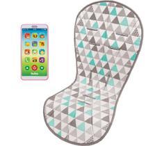 Almofada Protetora Carrinho Triângulos e Celular Infantil Phone Rosa - Buba Baby -