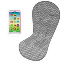 Almofada Protetora Carrinho Zig Zag e Celular Infantil Phone Rosa - Buba Baby -