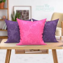 Almofada Roxa e Rosa 45cm x 45cm para Sofá com Refil 3 Unidades - Moda Casa Enxovais
