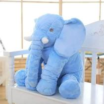 Almofada Travesseiro Elefante Bebê Dormir Pelúcia Azul 60cm - Rg Toys