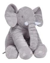 Almofada Travesseiro Elefante Bebê Dormir Pelúcia Cinza 64cm - Happy Baby