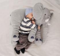 Almofada Travesseiro Elefante Bebê Malha 100% Algodão 80cm cinza - Bicho Pelúcia