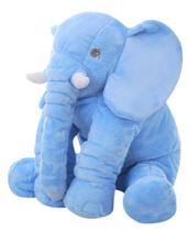 Almofada Travesseiro Elefante de Pelúcia para Bebê Dormir Azul Bebe 45cm - BabyRu - Doce Lar Enxovais