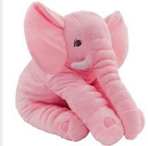 Almofada Travesseiro Elefante de Pelúcia para Bebê Dormir Rosa 45cm - BabyRu - Doce Lar Enxovais