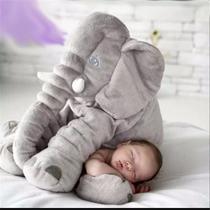Almofada Travesseiro Elefante de Pelúcia Plush 60cm Cinza para Bebê - Mel Kids