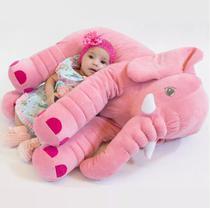 Almofada Travesseiro Elefante de Pelúcia Plush 60cm Rosa para Bebê - Mel Kids