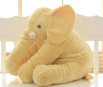 Almofada Travesseiro Elefante Pelúcia Bebê Dormir Grande 62cm Amarelo - Ursos E Pelúcias