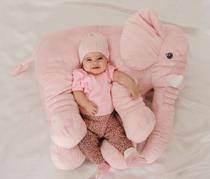 Almofada Travesseiro Elefante Pelúcia Bebê Dormir Rosa 80cm - Bicho Pelúcia