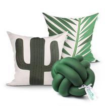 Almofada Verde Decorativa Cacto Estampada 2 Unidades + Nó Escandinavo com Refil de Silicone Super Macio - Moda Casa Enxovais
