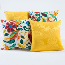 Almofadas Decorativas Amarelo Floral Colorido 04 Peças c/ Refil - Dourados enxovais