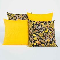 Almofadas Decorativas Amarelo/Preto 04 Peças c/ Refil - Dourados enxovais