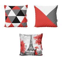 Almofadas Geometricas Vermelhas Paris Love Para Sofá  40x40 - Novadecora -