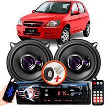 """Alto Falante Pioneer Chevrolet Celta Dianteiro Ts-1360br 5"""" 100W RMS  4 Ohms Triaxial Bobina Simples Preto Roxo Par + Rádio Com Bluetooth - Kit Delparts"""
