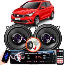 """Alto Falante Pioneer Fiat Argo Dianteiro Ts-1360br 5"""" 100W RMS  4 Ohms Triaxial Bobina Simples Preto Roxo Par + Rádio Com Bluetooth - Kit Delparts"""
