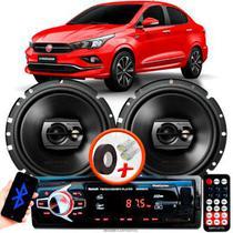 """Alto Falante Pioneer Fiat Cronos Traseiro Ts-1790br 6"""" 120W RMS 4 Ohms Triaxial Bobina Simples Preto Par + Rádio Com Bluetooth - Kit Delparts"""