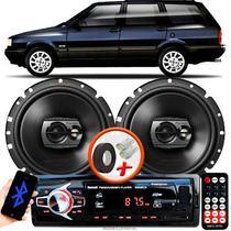 """Alto Falante Pioneer Fiat Elba Dianteiro Ts-1790br 6"""" 120W RMS  4 Ohms Triaxial Bobina Simples Preto Par + Rádio Com Bluetooth - Kit Delparts"""