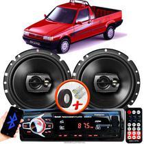 """Alto Falante Pioneer Fiat Fiorino Carroceria Dianteiro Ts-1790br 6"""" 120W RMS  4 Ohms Triaxial Bobina Simples Preto Par + Rádio Com Bluetooth - Kit Delparts"""