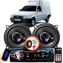 """Alto Falante Pioneer Fiat Fiorino Furgao Dianteiro Ts-1360br 5"""" 100W RMS  4 Ohms Triaxial Bobina Simples Preto Roxo Par + Rádio Com Bluetooth - Kit Delparts"""