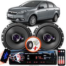 """Alto Falante Pioneer Fiat Grand Siena Dianteiro Ts-1760br 6"""" 100W RMS  4 Ohms Triaxial Bobina Simples Par + Rádio Com Bluetooth - Kit Delparts"""