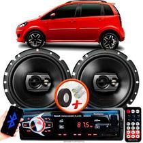 """Alto Falante Pioneer Fiat Idea Traseiro Ts-1790br 6"""" 120W RMS 4 Ohms Triaxial Bobina Simples Preto Par + Rádio Com Bluetooth - Kit Delparts"""
