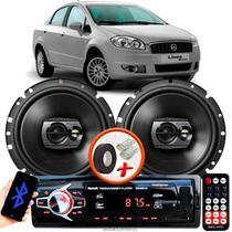 """Alto Falante Pioneer Fiat Linea Dianteiro Ts-1790br 6"""" 120W RMS  4 Ohms Triaxial Bobina Simples Preto Par + Rádio Com Bluetooth - Kit Delparts"""