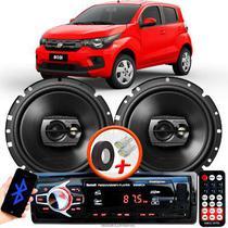 """Alto Falante Pioneer Fiat Mobi Dianteiro Ts-1790br 6"""" 120W RMS  4 Ohms Triaxial Bobina Simples Preto Par + Rádio Com Bluetooth - Kit Delparts"""