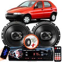 """Alto Falante Pioneer Fiat Palio Dianteiro Ts-1790br 6"""" 120W RMS  4 Ohms Triaxial Bobina Simples Preto Par + Rádio Com Bluetooth - Kit Delparts"""