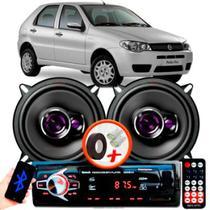 """Alto Falante Pioneer Fiat Palio Fire Traseiro Ts-1360br 5"""" 100W RMS 4 Ohms Triaxial Bobina Simples Preto Roxo Par + Rádio Com Bluetooth - Kit Delparts"""