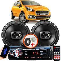 """Alto Falante Pioneer Fiat Punto EVO Dianteiro Ts-1790br 6"""" 120W RMS  4 Ohms Triaxial Bobina Simples Preto Par + Rádio Com Bluetooth - Kit Delparts"""